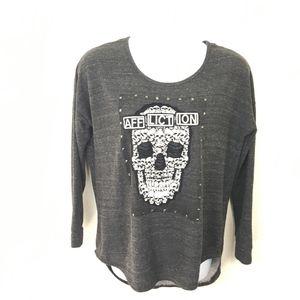 Affliction Size L Gray Studded Skill T-Back Fleece